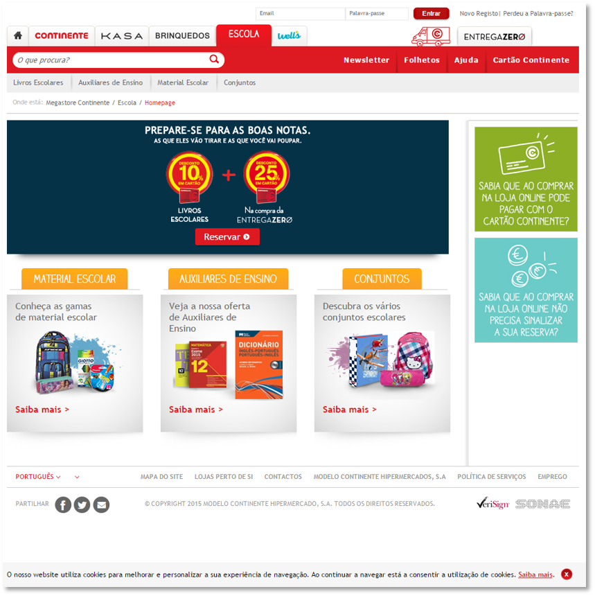 E-Commerce: School Books for Continent Online