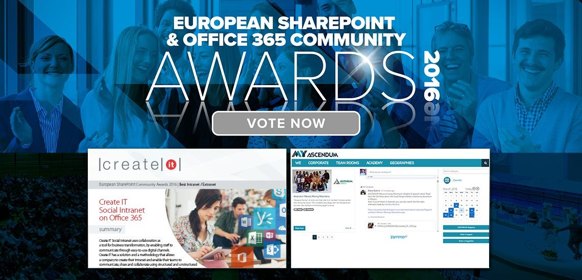 Voting is now open for the European SharePoint & Office365 Community Awards and Create IT is the only one representing Portugal